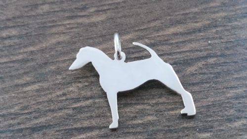 Smooth Fox Terrier dog silhouette pendant sterling silver handmade by saw piercing Caroline Howlett Design